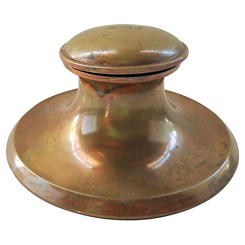 Antique Brass Inkwell