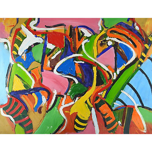 Abstract Busy Bees Painting