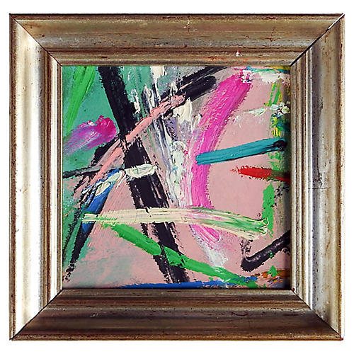 Small Pink & Green Abstract Painting