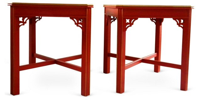 Asian-Inspired   End Tables, Pair