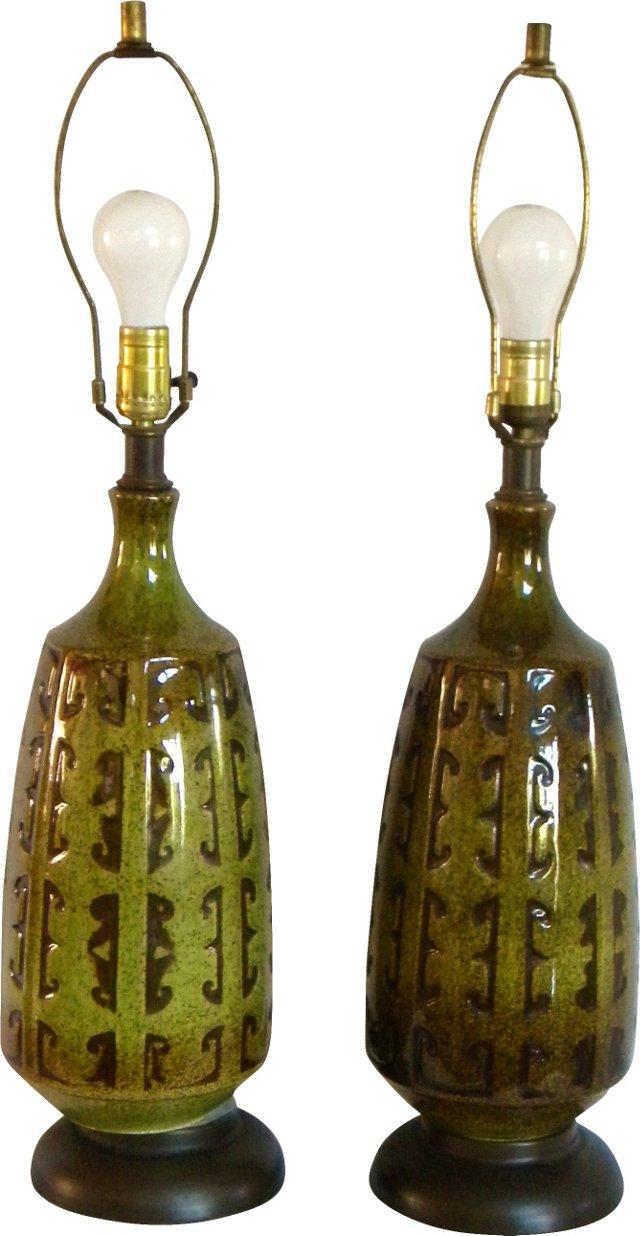 Drip Glaze Ceramic Lamps, Pair