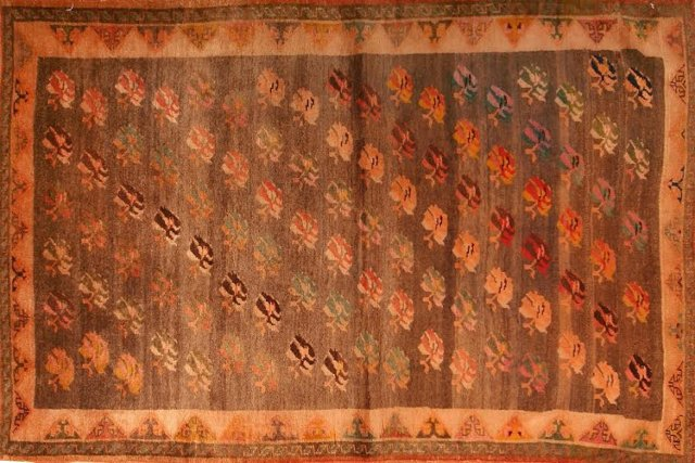 """Persian Gabbeh w/ Cabbage Roses, 4'x6'7"""""""
