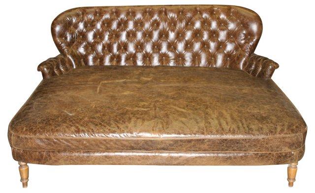 European Leather Chaise