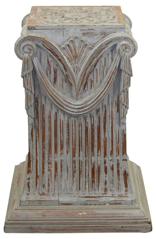 Indian Hand-Carved Teak Pedestal