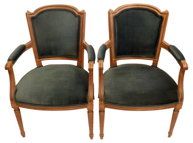Emerald Green French Chairs, Pair