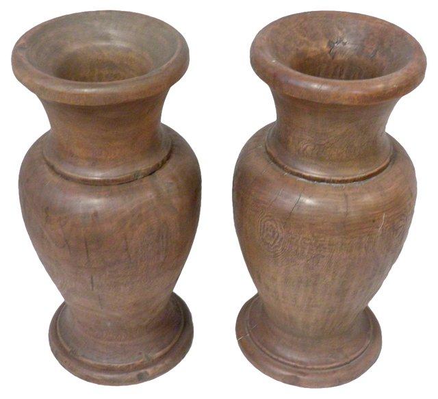 Reclaimed Wood  Urns, Pair