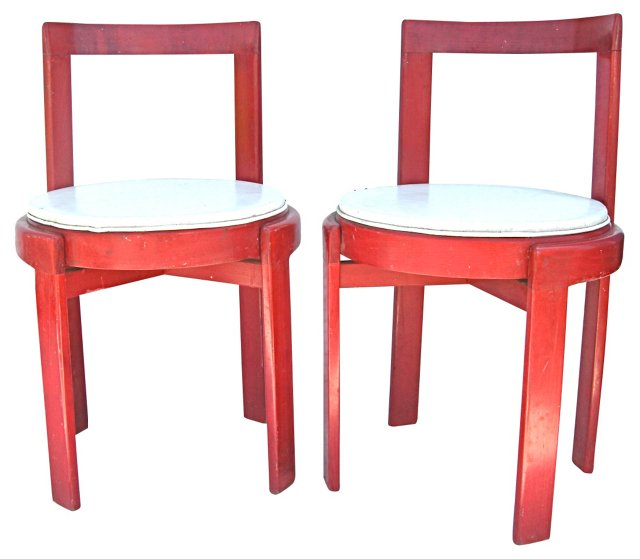 Red & White Side Chairs, Pair
