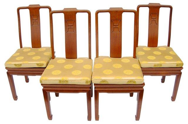 Chinese Teak Chairs, Set of 4