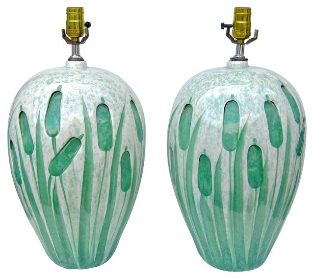 Green Cattail Lamps, Pair