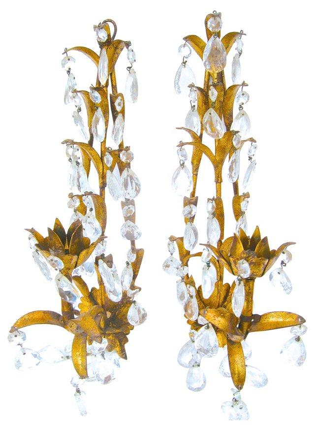Gilt Metal & Prism Sconces, Pair