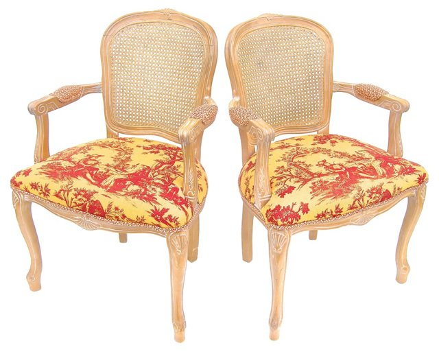 Louis XV-Style Cane-Back Armchairs, Pair