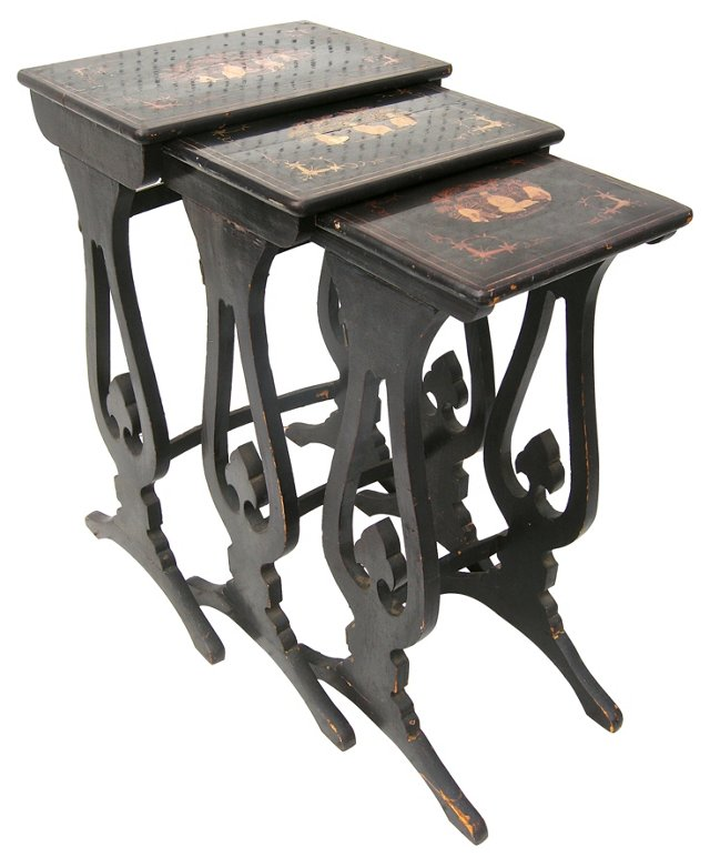 Chinoiserie  Nesting Tables, S/3