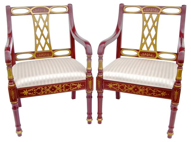 Russian Empire-Style Chairs, Pair