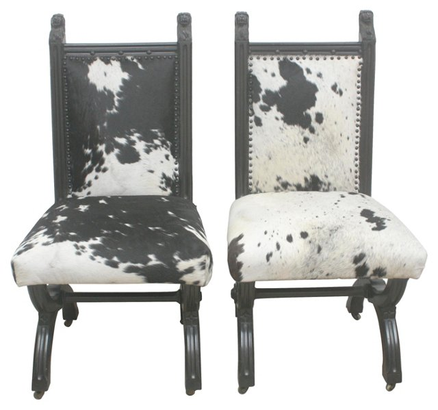 Chairs w/ Cowhide Upholstery, Pair