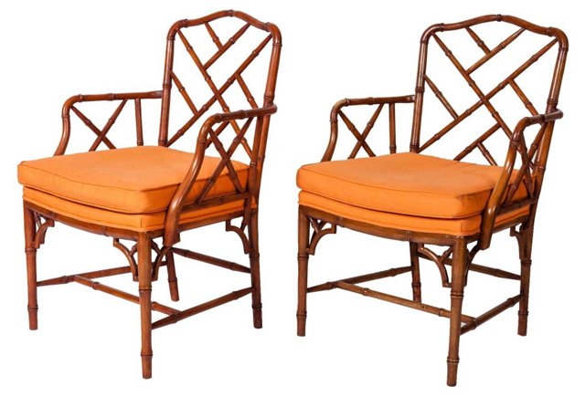 Bamboo-Style Chairs, Pair