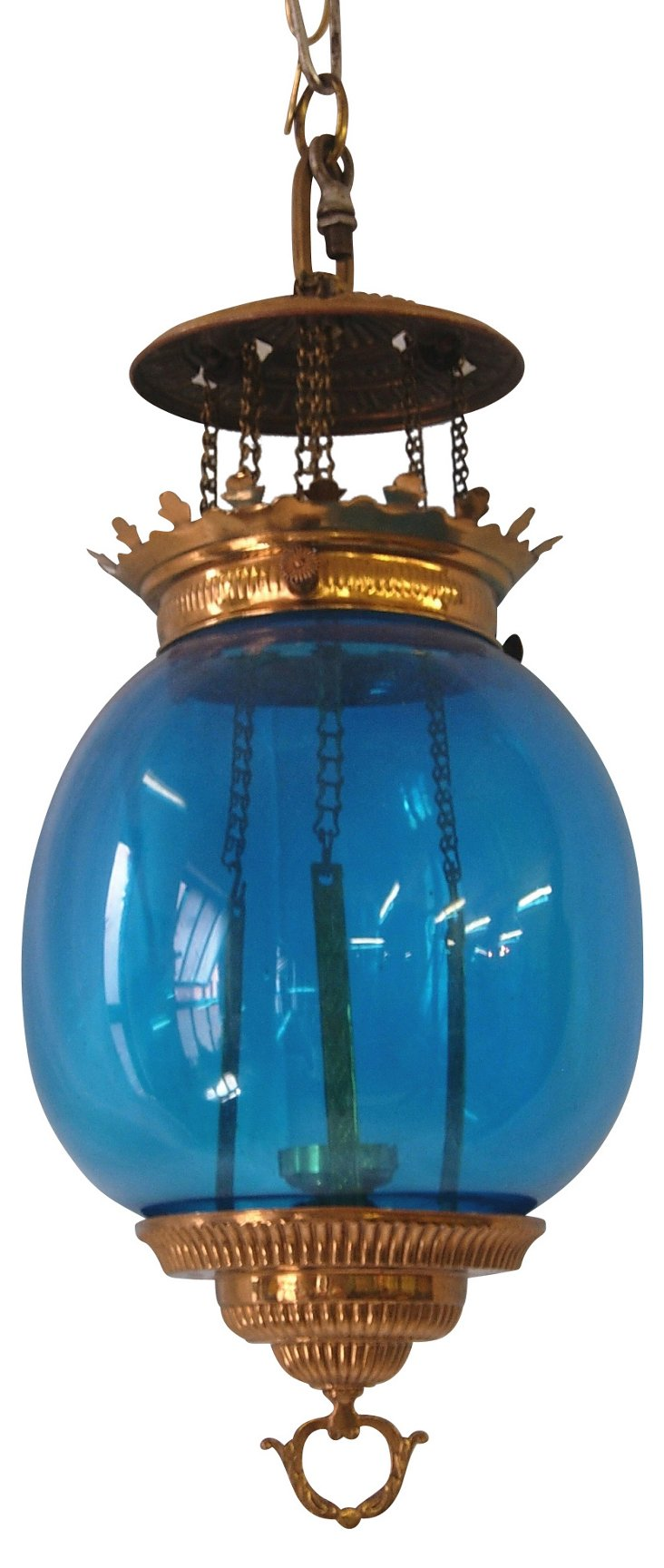 Victorian Blue Glass Lantern