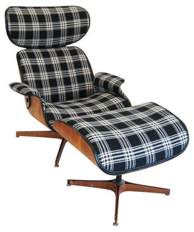 1960s Plycraft Lounge Chair & Ottoman