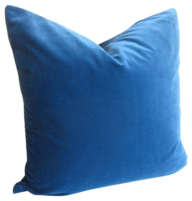 Ocean Blue Velvet   Pillow