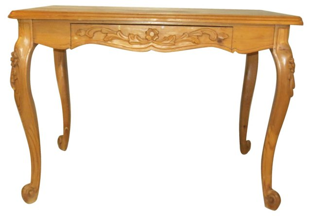 Hand-Carved Pine Writing Desk