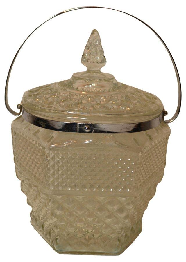 Glass Ice Bucket w/ Silver Rim
