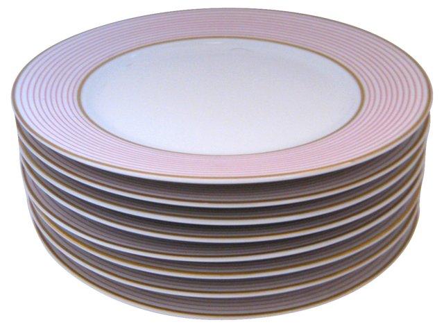 Limoges Pink Pinstripe Plates, S/8