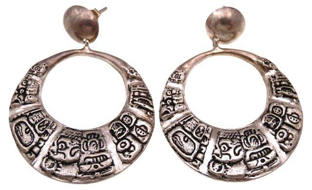 1970s Mayan Hieroglyphics Earrings