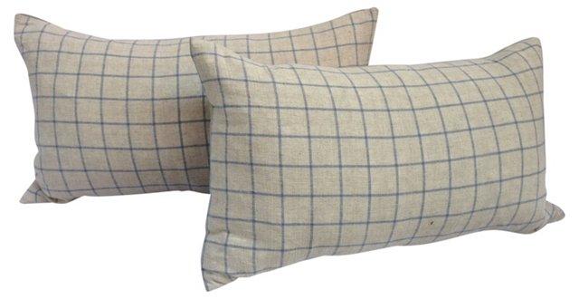 Blue & White Irish Linen Pillows, Pair