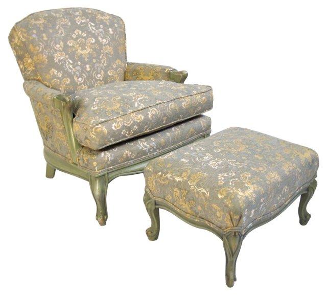 Louis XV-Style Chair w/ Ottoman