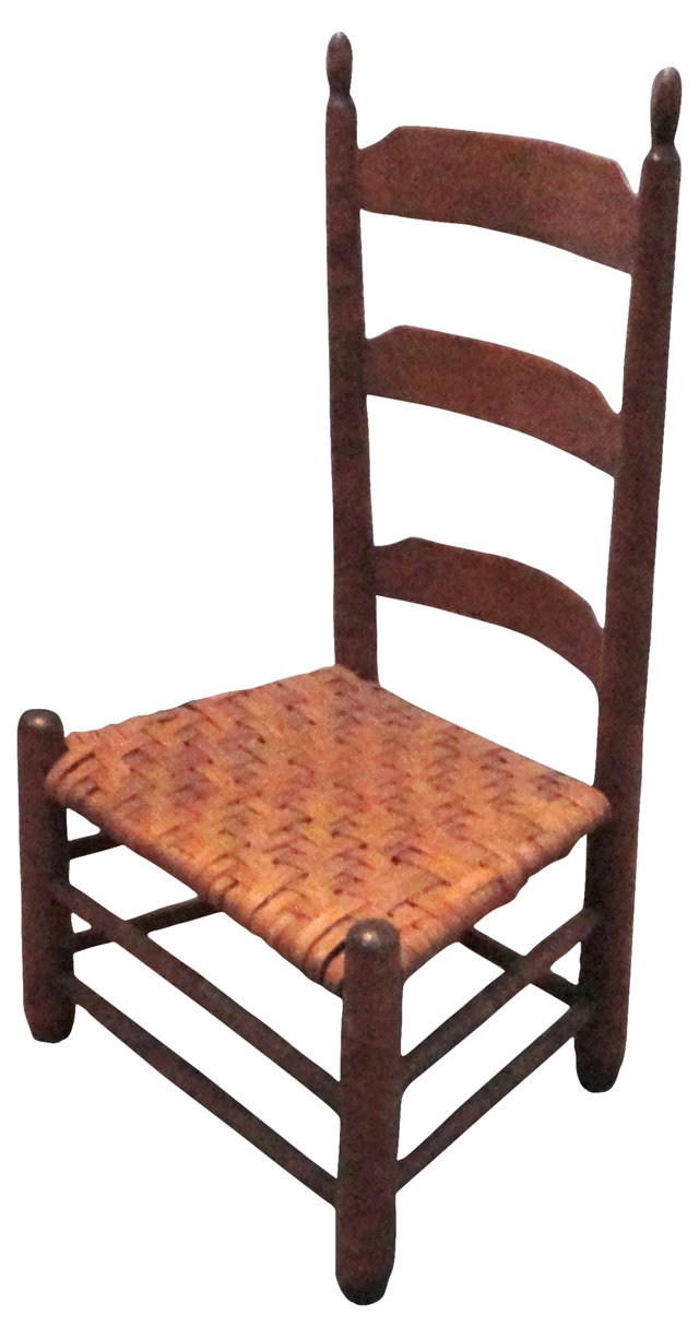 19th-C. American Ladder-Back Side Chair