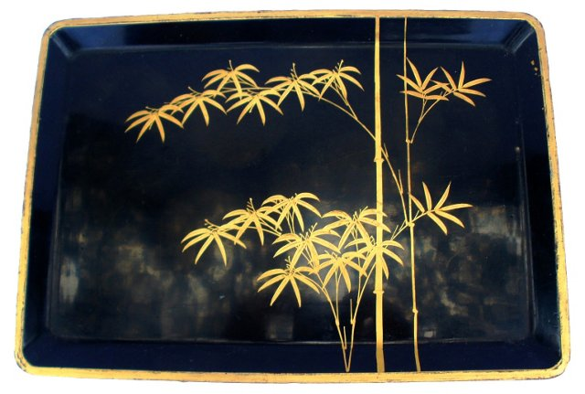 Lacquered Tray w/ Bamboo Motif