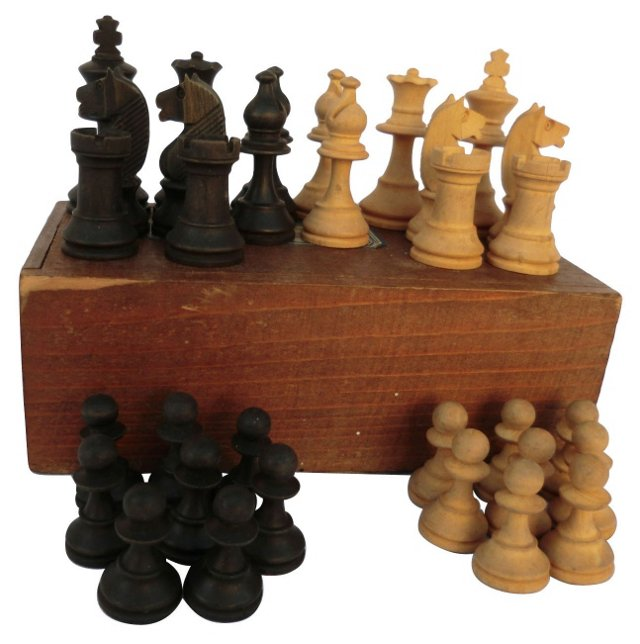 1930s Fruitwood Chess Set