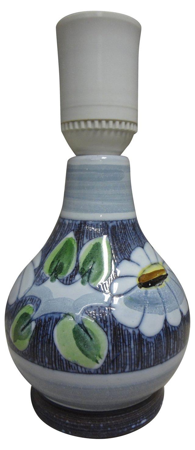 Swedish Floral Ceramic Lamp