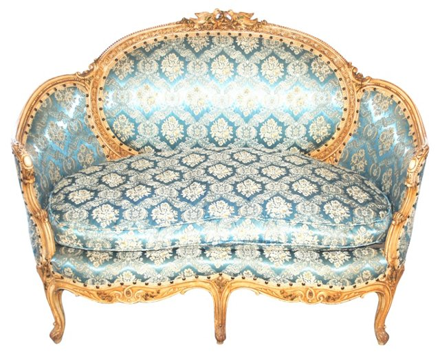 Louis XVI Settee w/ Carved Back