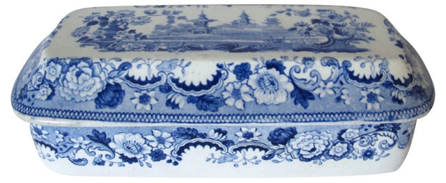19th-C. English Transferware Razor Box