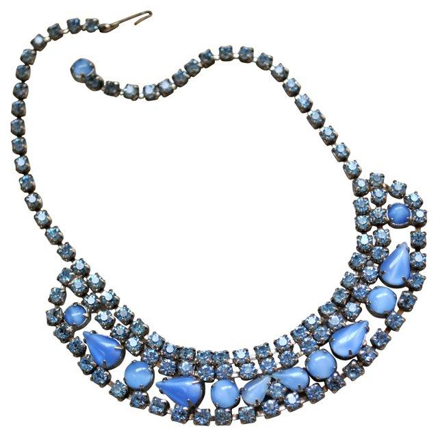 Blue Rhinestone & Moonglow Necklace