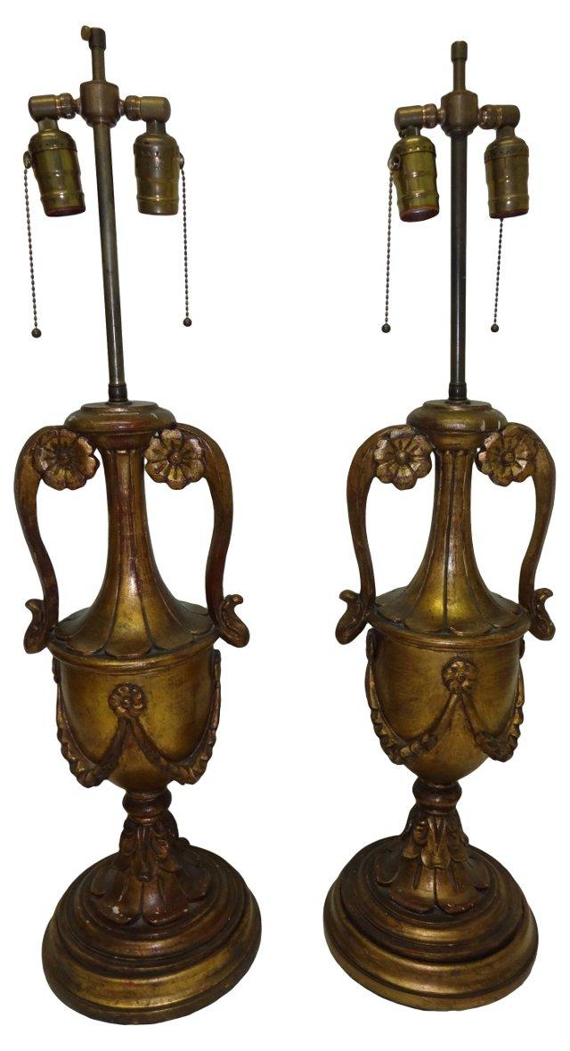 Giltwood Lamps, Pair