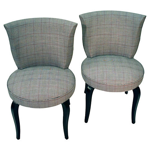 Art Deco Slipper Chairs, Pair