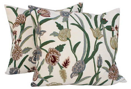 English Crewelwork  Floral Pillows, Pair
