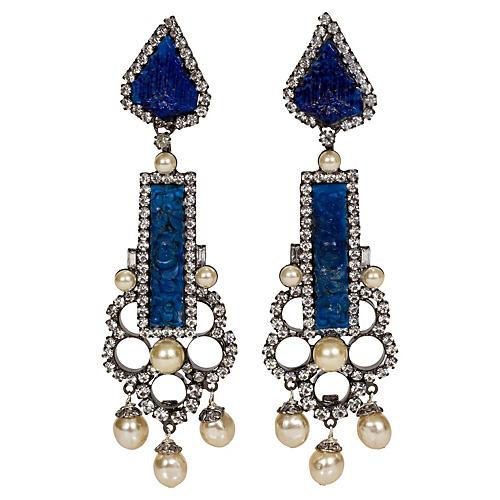 Vrba Faux-Lapis & Pearl Drop Earrings