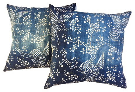 Shanghai Dove Batik Pillows, Pair