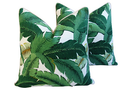 Tropical Iconic Banana Leaf  Pillows, Pr