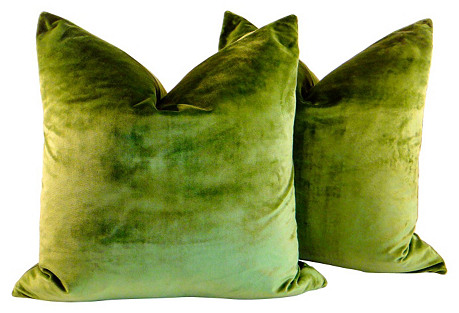 Silk Velvet Peridot Pillows, Pair