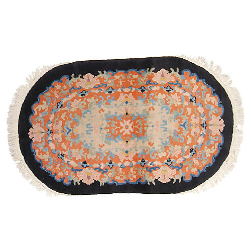 Chinese Oval Rug, 3' x 5'