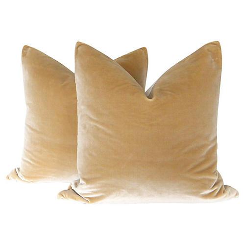 Camel Silk Velvet Pillows, Pair