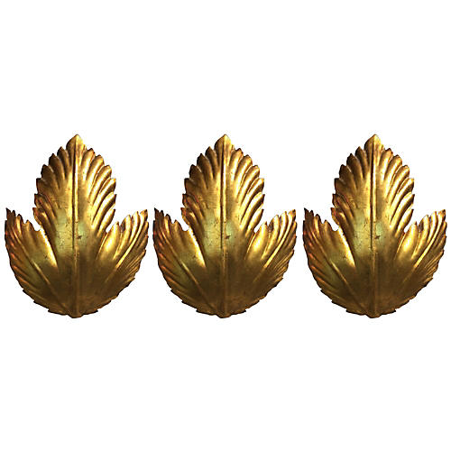 Italian Gold Leaf Sconces, S/3