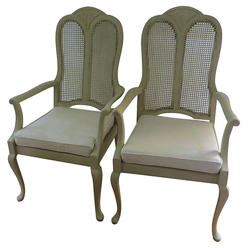 Caned Back & Seat Chairs, Pair