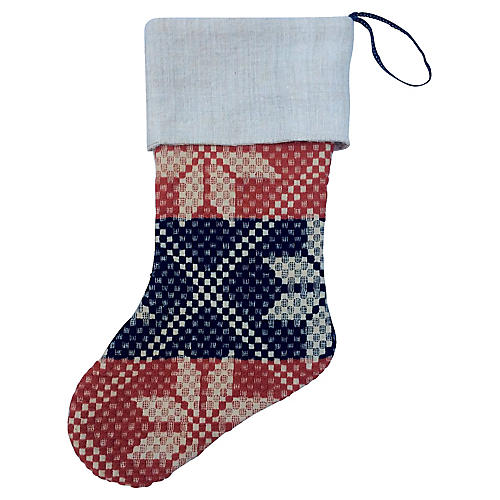 19th-C. Blanket Christmas Stocking