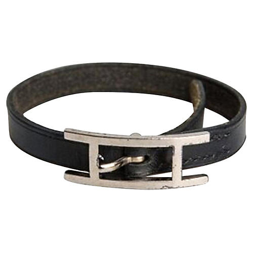 Hermès Black Leather Single Bracelet
