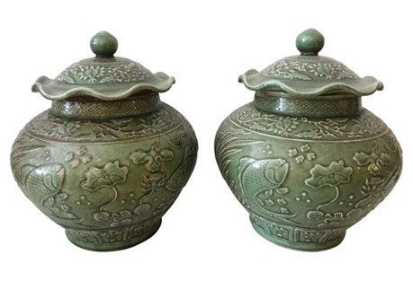 Celadon Ginger Koi Fish Jars, S/2