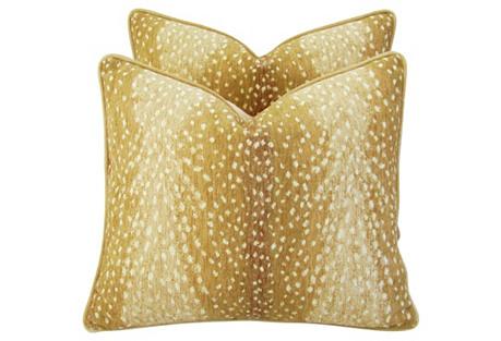 Antelope Fawn Spot Velvet Pillows, Pair